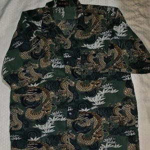Mens Dragon print button down short sleeve shirt
